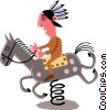 Vector Clipart picture  of a Man on horseback