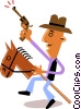 Man on horseback Vector Clip Art image