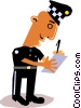 Vector Clipart graphic  of a Funky Picasso Policeman