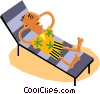 Funky Picassos man on vacation Vector Clipart illustration