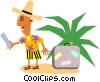 Vector Clipart picture  of a Funky Picasso man on vacation