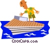 Funky Picasso man on vacation Vector Clipart illustration