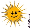 Vector Clipart graphic  of a The Sun with sunglasses