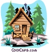 Vector Clip Art graphic  of a Cabin