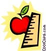 Apple with ruler Vector Clipart illustration