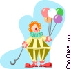 Clown with balloons Vector Clip Art image