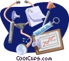 Stethoscope with syringe and clipboard Vector Clipart illustration