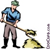 Vector Clipart graphic  of a Farmer with pitch fork and hay