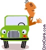 Picasso man in car Vector Clip Art picture