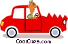 Vector Clipart illustration  of a Picasso man in car