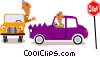 Picassos man in car Vector Clip Art image