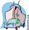 Car towing a boat Vector Clipart graphic