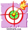 Darts in dartboard Vector Clip Art graphic