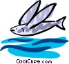 Vector Clip Art image  of a Flying fish