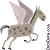 Cartoon horses Vector Clipart image