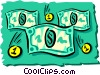 Vector Clip Art image  of a Money dollars and coins