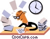 Businessman working at his desk Vector Clip Art graphic
