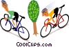 Cyclists Vector Clip Art graphic