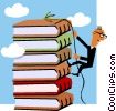 Vector Clip Art image  of a Man climbing stack of books