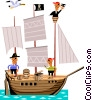 Pirate ship Vector Clip Art image
