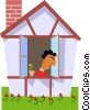 Vector Clipart picture  of a Woman looking out the window