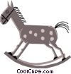 Vector Clip Art graphic  of a Cartoon rocking horses