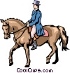Man on horseback Vector Clip Art graphic