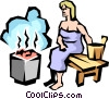 Sauna lady Vector Clipart illustration