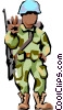 Vector Clipart graphic  of a Soldier giving peace sign
