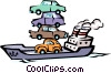 Vector Clipart image  of a Ship with cars