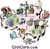 China map Vector Clipart image