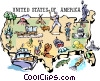 United States map Vector Clipart illustration