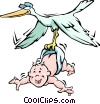 Stork with baby Vector Clip Art picture