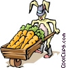 Rabbit with carrots Vector Clip Art image