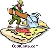 Man slicing Pizza Vector Clipart graphic