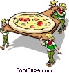 Vector Clipart image  of a Men loading pizza into oven