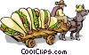 Man with donkey and cart full of tacos Vector Clipart illustration