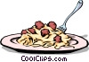Vector Clipart image  of a Spaghetti & meatballs