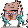 Vector Clipart picture  of a Handymen moving house