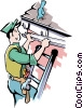 Vector Clip Art image  of a Handyman installing eaves