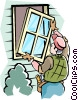 Vector Clip Art graphic  of a Handyman installing window