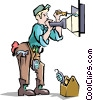 Vector Clip Art graphic  of a Electrician with at the panel