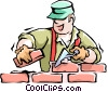 Man laying bricks Vector Clip Art graphic