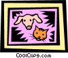 Vector Clip Art graphic  of a Dog and Cat