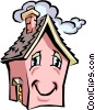 Vector Clipart illustration  of a House with caricature face