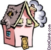 House with caricature face Vector Clipart image