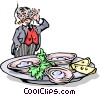 Vector Clip Art image  of a Man with tray of oysters