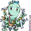 Vector Clipart image  of a Octopus repairman