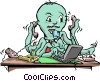 Vector Clip Art graphic  of a Octopus businessman