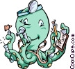 Vector Clip Art image  of a Octopus doctor